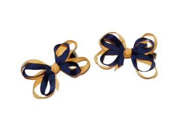 Bow Clips - Navy/Gold